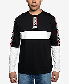 Sean John Mens Checkered Graphic Shirt