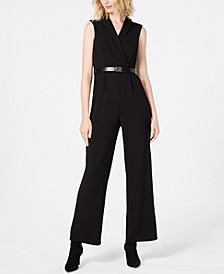 Petite Belted Collared Jumpsuit