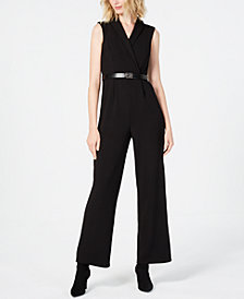 Calvin Klein Petite Belted Collared Jumpsuit