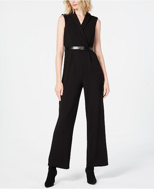 abadfb70b0c Calvin Klein Belted Collared Jumpsuit  Calvin Klein Belted Collared Jumpsuit  ...