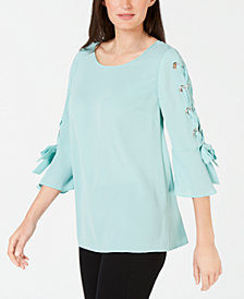JM Collection Laced Grommet-Sleeve Top, Created for Macy's