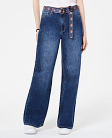 Wide-Leg Belted Jeans