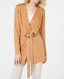 I.N.C. Long-Sleeve Grommet-Detail Cardigan, Created for Macy's