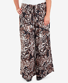 NY Collection Plus Size Floral-Print Skirt-Front Wide-Leg Pants