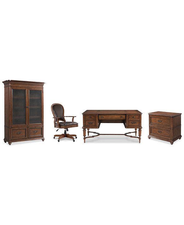 Furniture Clinton Hill Cherry Home Office, 4-Pc. Set (Writing Desk, Lateral File Cabinet, Door Bookcase & Leather Desk Chair)