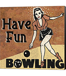 Have Fun Bowling by Erin Clark Canvas Art