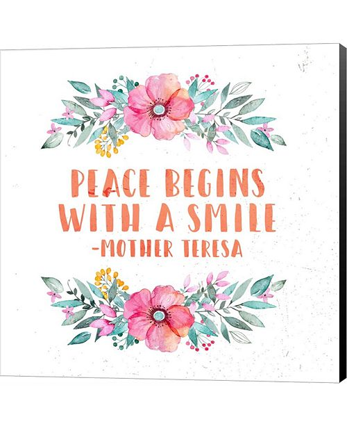 Metaverse Peace Begins With a Smile-Floral by Inspire Me Canvas Art