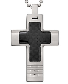 Men's Stainless Steel Necklace, Black Carbon Fiber Cross Pendant