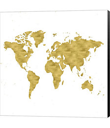 World Map Burnished Gold by Ramona Murdock Canvas Art