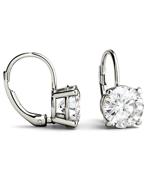 Charles & Colvard Moissanite Leverback Earrings (3 ct. t.w. Diamond Equivalent) in 14k White or Yellow Gold