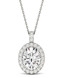 Moissanite Oval Halo Pendant (3-1/3 ct. tw.) in 14k White Gold
