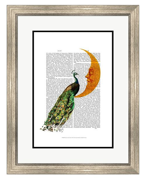 Metaverse Peacock on the Moon by Fab Funky Framed Art