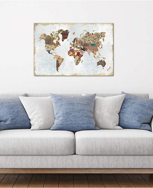 """iCanvas """"Pattern World Map"""" by Laura Marshall Gallery-Wrapped Canvas Print (26 x 40 x 0.75)"""