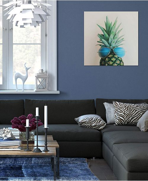 """iCanvas """"Pineapple In Paradise"""" by Chelsea Victoria Gallery-Wrapped Canvas Print (18 x 18 x 0.75)"""
