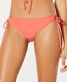 Hula Honey Shimmer Rib Side-Tie Hipster Bottoms, Created for Macy's