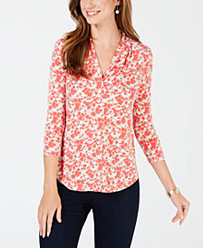 Charter Club Petite 3/4-Sleeve Paisley-Print Top, Created for Macy's