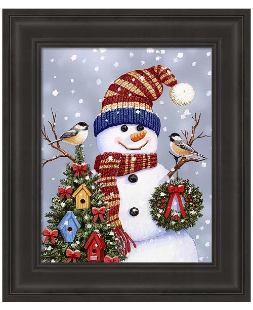 Metaverse Snowman With Wreath by William Vanderdasson Framed Art