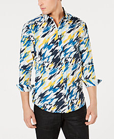 I.N.C. Men's Regular-Fit Painterly-Print Shirt, Created for Macy's