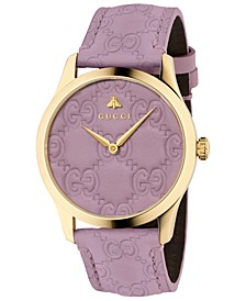 Unisex Swiss G-Timeless Purple GG Signature Leather Strap Watch 38mm