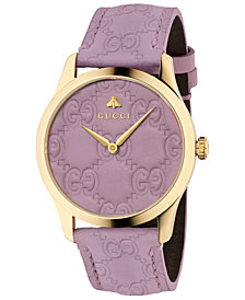 Gucci Unisex Swiss G-Timeless Purple GG Signature Leather Strap Watch 38mm