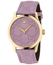 Gucci Unisex Swiss G-Timeless Purple GG Signature Leather Strap Watch 38mm