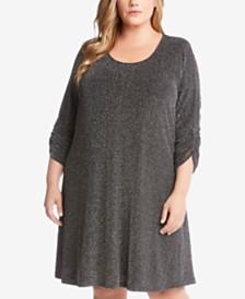 56256d12e0b Karen Kane Plus Size Silver Metallic V-Neck Top - Dresses - Women ...
