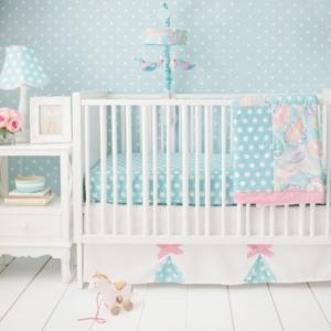 Pixie Baby in Aqua 3pc Set (sheet, skirt, blanket) Bedding