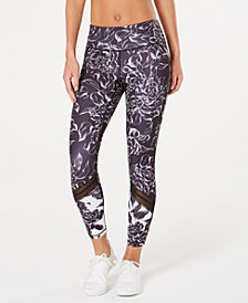 Ideology Floral-Print Mesh-Trimmed Leggings, Created for Macy's