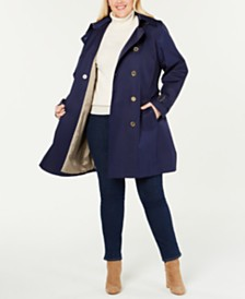 MICHAEL Michael Kors Plus Size Double-Breasted Trench Coat