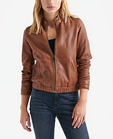 Lucky Brand Ana Leather Zip-Front Jacket