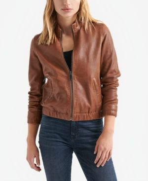 LUCKY BRAND Ana Leather Zip-Front Jacket in Saddle