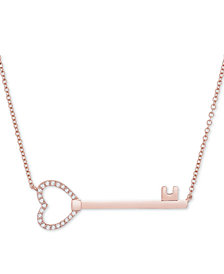 "Wrapped™ Diamond Key 17"" Pendant Necklace (1/10 ct. t.w.) in 14k Rose Gold, Created for Macy's"