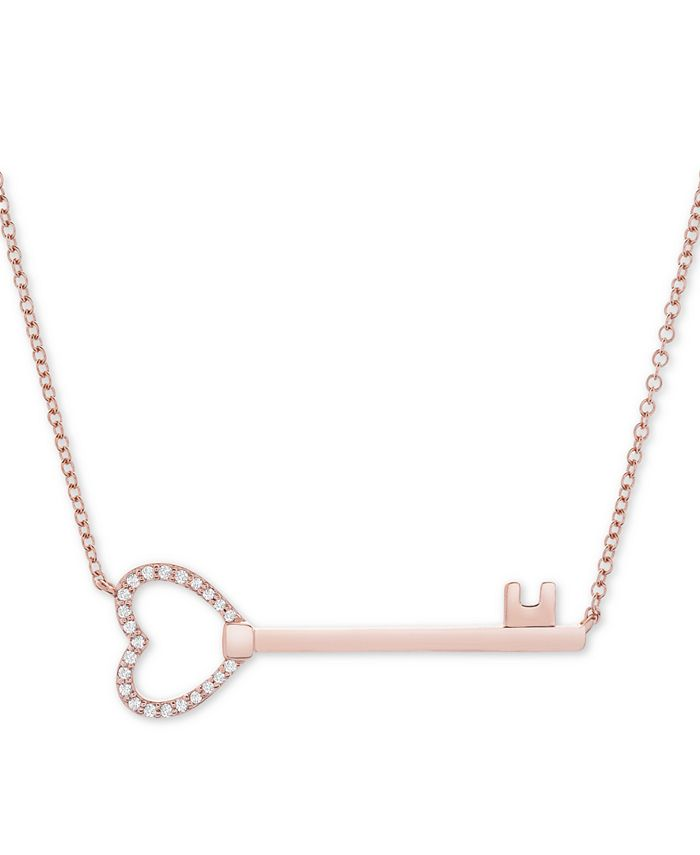 """Wrapped - Diamond Key 17"""" Pendant Necklace (1/10 ct. t.w.) in 14k Rose Gold"""