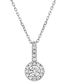 Diamond Halo Adjustable Pendant Necklace (1/3 ct. t.w.) in 14k White Gold