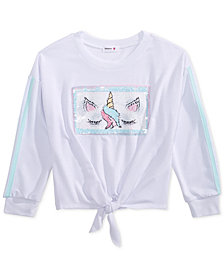 Beautees Big Girl Reversible Sequin Tie-Front Top