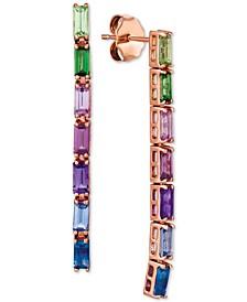 Multi-Gemstone Baguette Drop Earrings (1-5/8 ct t.w.) in 14k Rose Gold