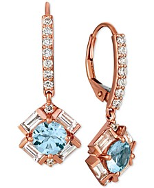 Baguette Frenzy™ Multi-Gemstone (1-9/10 ct. t.w.) & Diamond (1/3 ct. t.w.) Drop Earrings in 14k Rose Gold