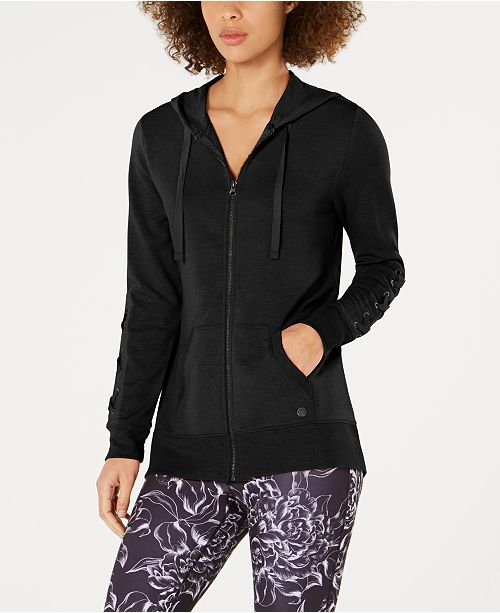 Lace-Up Sleeve Zip Hoodie, Created for Macy's