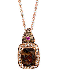 "Le Vian® Multi-Gemstone (1 ct. t.w.) & Diamond (1/5 ct. t.w) 18"" Pendant Necklace in 14k Rose Gold"