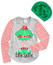 Self Esteem Big Girls 2-Pc. Graphic-Print Top & Beanie Set