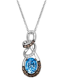 Multi-Gemstone (1-1/6 ct. t.w.) & Diamond Accent Swirl Pendant Necklace in 14k White Gold