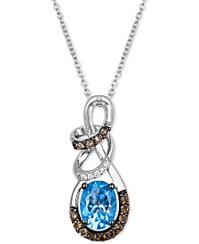 Le Vian® Multi-Gemstone (1-1/6 ct. t.w.) & Diamond Accent Swirl Pendant Necklace in 14k White Gold