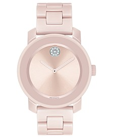 Women's Swiss BOLD Blush Ceramic & Stainless Steel Bracelet Watch 36mm