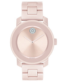 Movado Women's Swiss BOLD Blush Ceramic & Stainless Steel Bracelet Watch 36mm