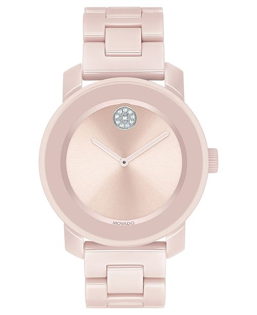 4deb9c5d2 ... Movado Women's Swiss BOLD Blush Ceramic & Stainless Steel Bracelet Watch  ...