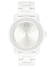 Movado Women's Swiss BOLD White Ceramic & Stainless S