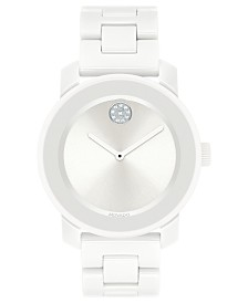 Movado Women's Swiss BOLD White Ceramic & Stainless Steel Bracelet Watch 36mm