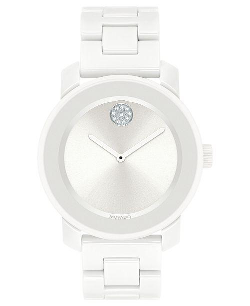 95a0bfc90 ... Movado Women's Swiss BOLD White Ceramic & Stainless Steel Bracelet Watch  ...