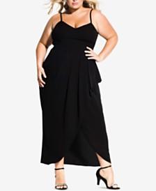 City Chic Trendy Plus Size Pleated Faux-Wrap Maxi Dress