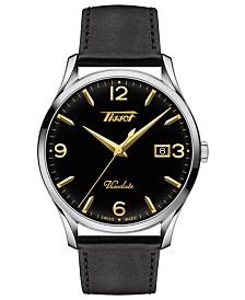 Tissot Men's Swiss Heritage Visodate Black Leather Strap Watch 40mm